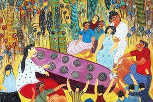Bermain congklak, karya lukisan Untung Wahono, 2014, mutual art