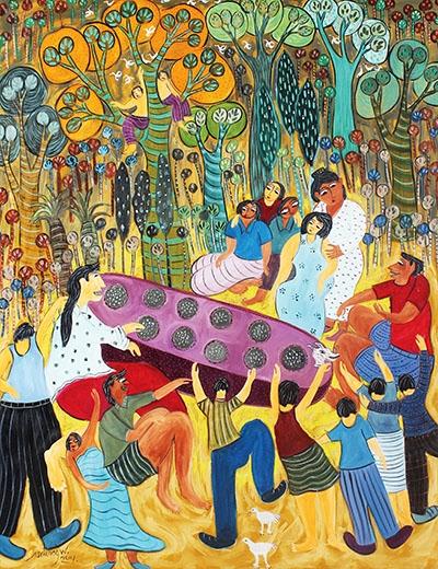 bermain congklak, lukisan Untung Wahono